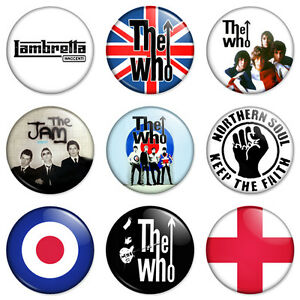 9-x-Mod-25mm-1-034-Pin-Badges-The-Who-Jam-Scooter-Retro-Combo-Set