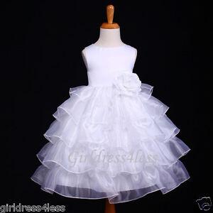 WHITE-ORGANZA-TIERED-WEDDING-RECITAL-FLOWER-GIRL-DRESS-12-18M-2-4-6-8-10
