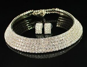5-ROW-CLEAR-AUSTRIAN-RHINESTONE-CHOKER-NECKLACE-EARRINGS-SET-BRIDAL-N1256-GOLD