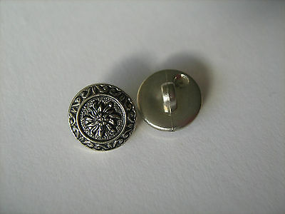 Antique Silver Flower Buttons  X 10   Sewing/Costume/Crafts/Victorian