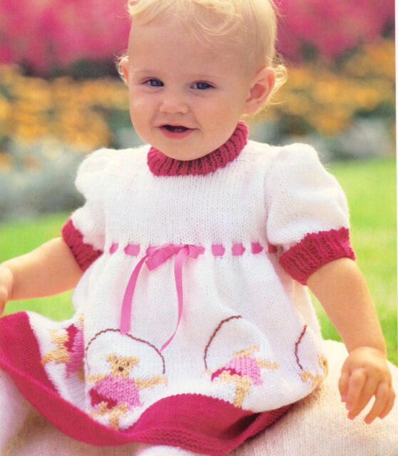 "Adorable Skipping Teddy Motif Baby Dress 18"" - 22"" ~ DK Knitting Pattern"