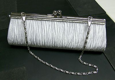 New Elegant Satin Pleated Bridal/Evening Clutch Handbag