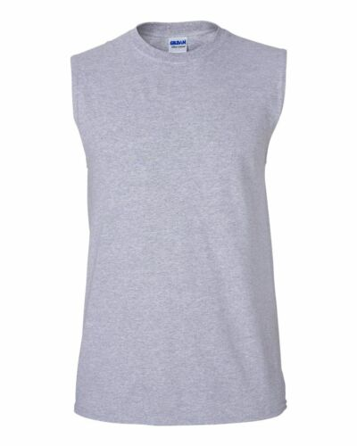 GILDAN Men/'s Size S-XL 2XL Ultra Cotton Sleeveless Muscle Sports T-Shirt G2700