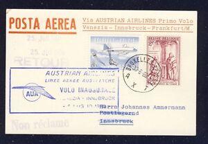 43587-AUA-FF-Venedig-Italien-Innsbruck-5-7-60-Karte-ab-Belgien-RR