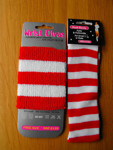 Red-White-Stripe-Headband-OR-Wristband-Sport-Sweatband-Fancy-Dress-118-118