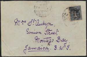 SYRIA 1923 S.G. 96d TIED ALEPPO ON COVER TO MONTEGO BAY, JAMAICA, EXTREMELY RARE