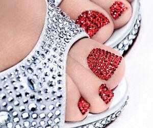 Red-Nail-Wraps-Foils-Red-2mm-Crystals-Rhinestones-Nail-Art-Bling-Nails