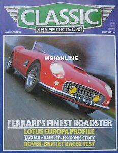 Classic-amp-Sportscar-01-1985-featuring-Lotus-Ferrari-Abarth-Jaguar-Daimler-BRM