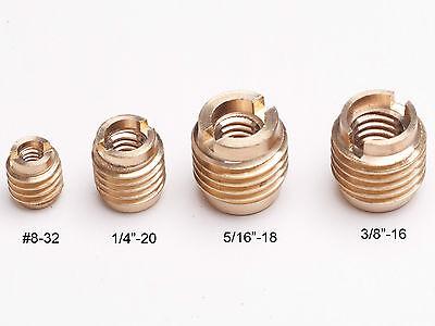 "10x brass threaded inserts screws #8-32 inside diameter ID 3/8""-16 OD outside"