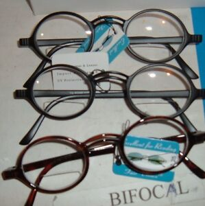 2pair-Easy-wear-Lennon-look-Round-frame-BIFOCAL-CLEAR-READING-GLASSES-reader