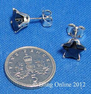 MENS-8mm-925-SILVER-DIAMOND-CUT-BLACK-STAR-EARRINGS-EAR-STUDS-BLING-EARINGS-PAIR