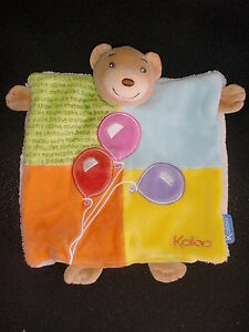 Doudou marionnette ours patchwork orange jaune bleu brode ballon KALOO (5 dispo)
