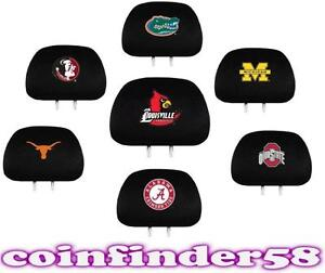 ncaa auto head rest covers pair car seat headrest pick team. Black Bedroom Furniture Sets. Home Design Ideas