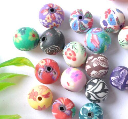 30pcs multicolor soft ceramics charms Beads 10MM  SH1116