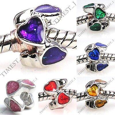 Lot 6pcs Silver Glitter Heart To Heart European Spacer Charm Beads For Bracelet