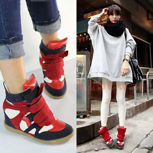 Women-039-s-Fashion-Hidden-Wedge-Heel-Top-Ladies-Ankle-Boots-Athletic-Sneaker-Shoes