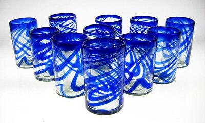 Mexican glass, blue swirl tumblers, set of 12,  16oz