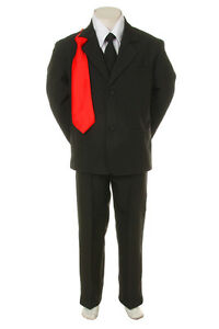 Boys-Junior-6-PC-Formal-Suit-Tuxedo-w-vest-BLACK-EXTRA-Red-Tie-S-to-XL-2T-to-20