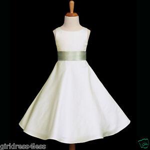 IVORY-SAGE-GREEN-SATIN-A-LINE-FLOWER-GIRL-DRESS-12-18M-2-4-4T-6-6X-8-10-12-14-16