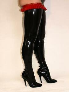 Black Or Red Latex Rubber High Boots Size 5 16 Heel 5 5 Producer Poland Ebay