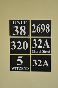 Black-house-plaque-sign-number-house-street-name-3mm-foamex-HOLED-DRILLED