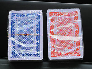 TWIN-SEALED-DECKS-100-PLASTIC-WASHABLE-PLAYING-CARDS-RED-amp-BLUE-DECK