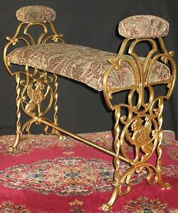 Antique Decorative Metal Vanity Piano Bench Griffins Hand