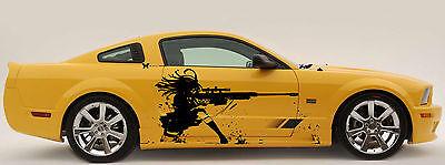 ANIME GIRL WITH A GUN Custom Wrap CAR VINYL SIDE GRAPHICS DECALS ANY AUTO OL