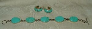 Mexico-925-Sterling-Sleeping-Beauty-Turquoise-Link-Bracelet-950-Hoop-Earrings