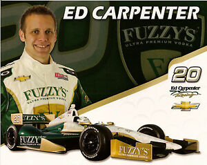 2012-ED-CARPENTER-INDIANAPOLIS-500-PHOTO-CARD-POSTCARD-IZOD-INDY-CAR-FUZZY-039-S