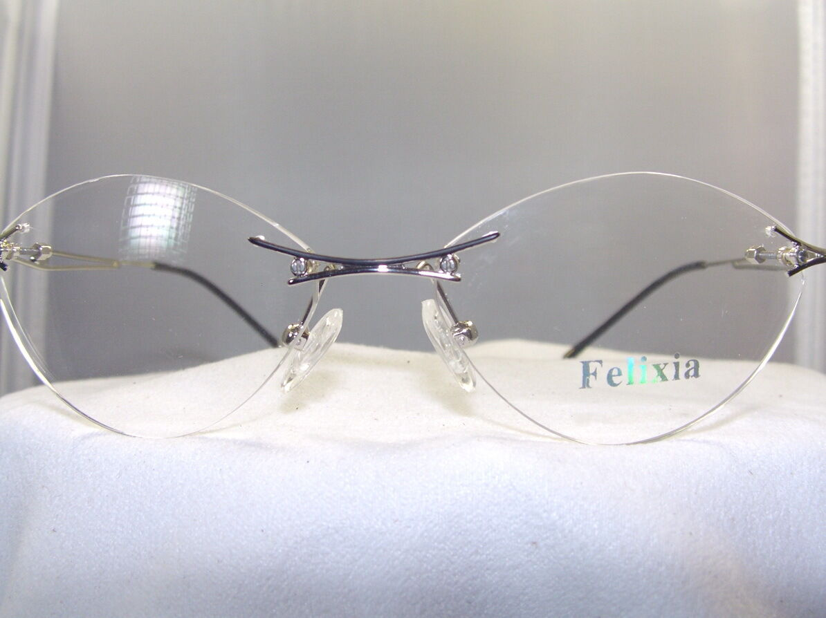 Rimless Eyeglass Frames Repair : WOMENS 3 PIECE RIMLESS EYEGLASS FRAME IN SILVER & BLACK eBay