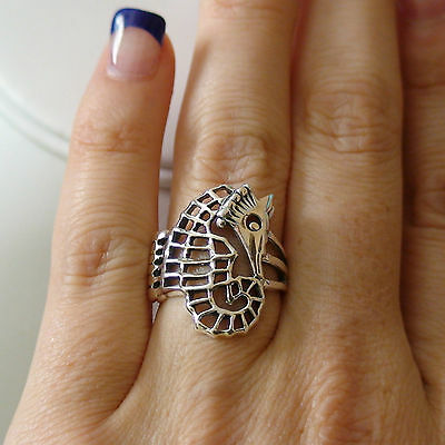 Seahorse Ring - 925 Sterling Silver Seahorse Nautical Jewelry *NEW* Cocktail