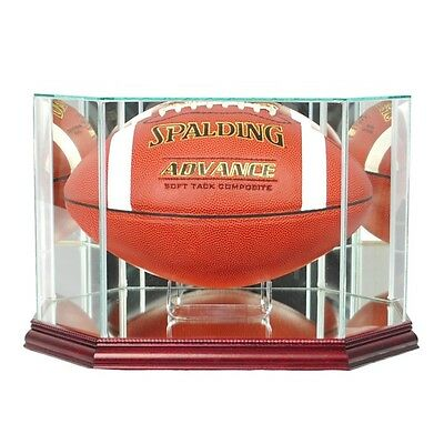 New Full Sized Glass Football Display Case UV NFL NCAA w/3 molding colors