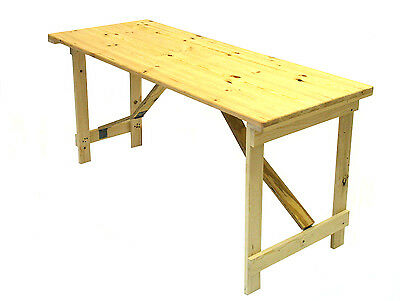 Ex display 5' x 2'6'' Wooden trestle table folds flat very strong, DIY Table