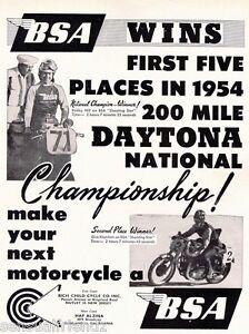 BSA Motorcycle Daytona Winner Racing Ad Poster 8 X 11 Vintage