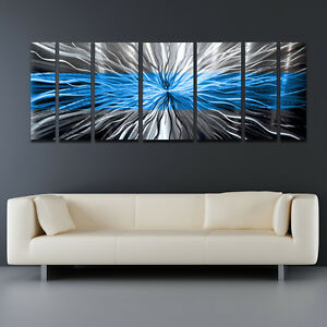 Blue Metal Wall Art metal wall art blue modern abstract sculpture painting home decor