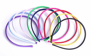 SET-of-10-Satin-Covered-Alice-Band-Head-hairbands-Plain-Daywear-Multi-colours
