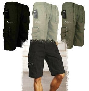 Mens-3-4-Length-Cargo-Combat-Shorts-Trousers-Summer-Long-Plain-Colours