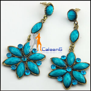 2-Pair-Ladies-Fashion-Bohemian-Turquoise-Flower-Long-Earring-3-Color-With-Box