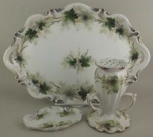 Antique-RS-Prussia-3-Pc-Vanity-Dresser-Set-Porcelain-Ivy-Tray-Hat-Pin-Powder-Jar