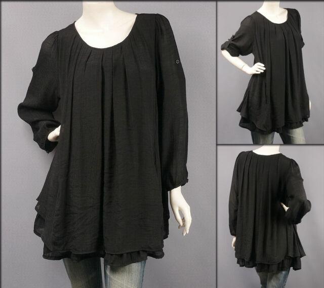 Black Long Sleeve Scoop Neck Layered Blouse Tunic Top XXL/2X