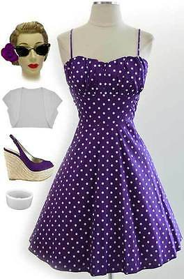 50s Style PLUS SIZE PURPLE w/White POLKA DOTS RUCHED Bust PINUP Sun Dress