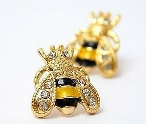 Fashion-Rhinestone-Enamel-Garden-Insect-Cute-Bumble-Bee-Ear-Stud-Jewelry-Earring