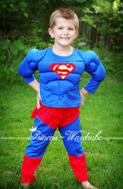 Muscle Superman Hero Outfit Boys Kids Child Party Costume Present Gift 2-7Year