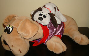 VINTAGE-Lot-of-2-Tonka-POUND-PUPPIES-DOG-18-034-amp-8-034-Plush-Stuffed-Animal-Jacket