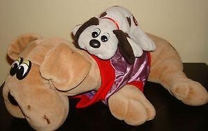VINTAGE-Lot-of-2-Tonka-POUND-PUPPIES-DOG-18-8-Plush-Stuffed-Animal-Jacket