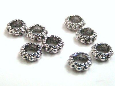 25 x 6mm Tibetan Silver Ring Beads Spacer Jewellery Craft FREE UK P+P D106