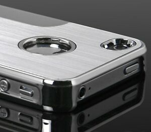 Luxury-Steel-Chrome-Deluxe-Case-For-iPhone-4-4S-Free-Screen-Protector