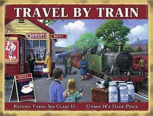 Train-Station-Cadbury-039-s-shop-Tank-Engine-Small-Metal-Tin-Sign-picture-plaque