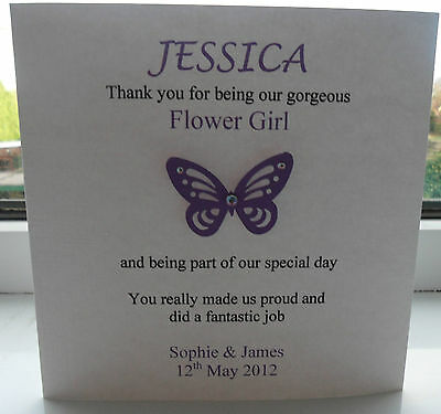 PERSONALISED THANK YOU BRIDESMAID CARD MUM FLOWER GIRL VARIOUS COLOURS WE
